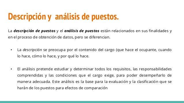 La descripción de puestos y el análisis de puestos están relacionados en sus finalidades y en el proceso de obtención de d...
