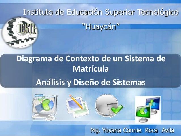 """Diagrama de Contexto de un Sistema deMatrículaAnálisis y Diseño de SistemasInstituto de Educación Superior Tecnológico""""Hua..."""