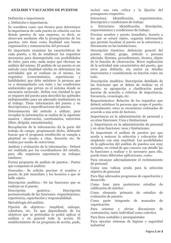 ANÁLISIS Y VALUACIÓN DE PUESTOS                      incluir una ruta crítica y la fijación del                           ...