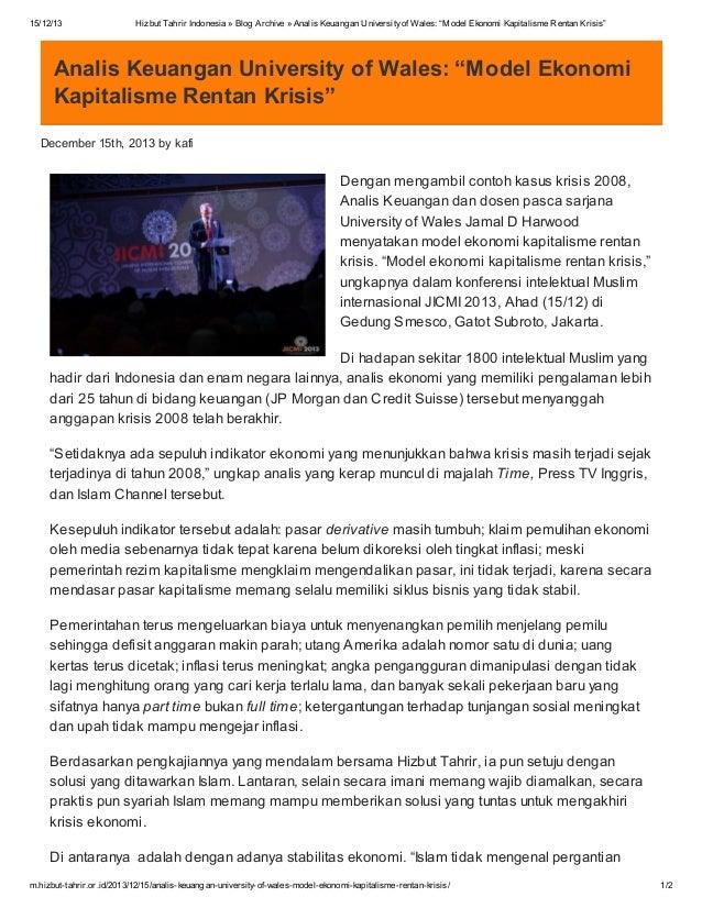 "15/12/13  Hizbut Tahrir Indonesia » Blog Archive » Analis Keuangan University of Wales: ""Model Ekonomi Kapitalisme Rentan ..."