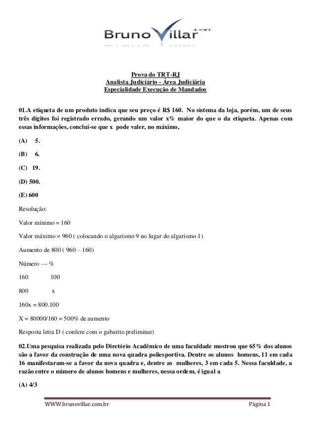 Prova do TRT-RJ                                 Analista Judiciário - Área Judiciária                                 Espe...