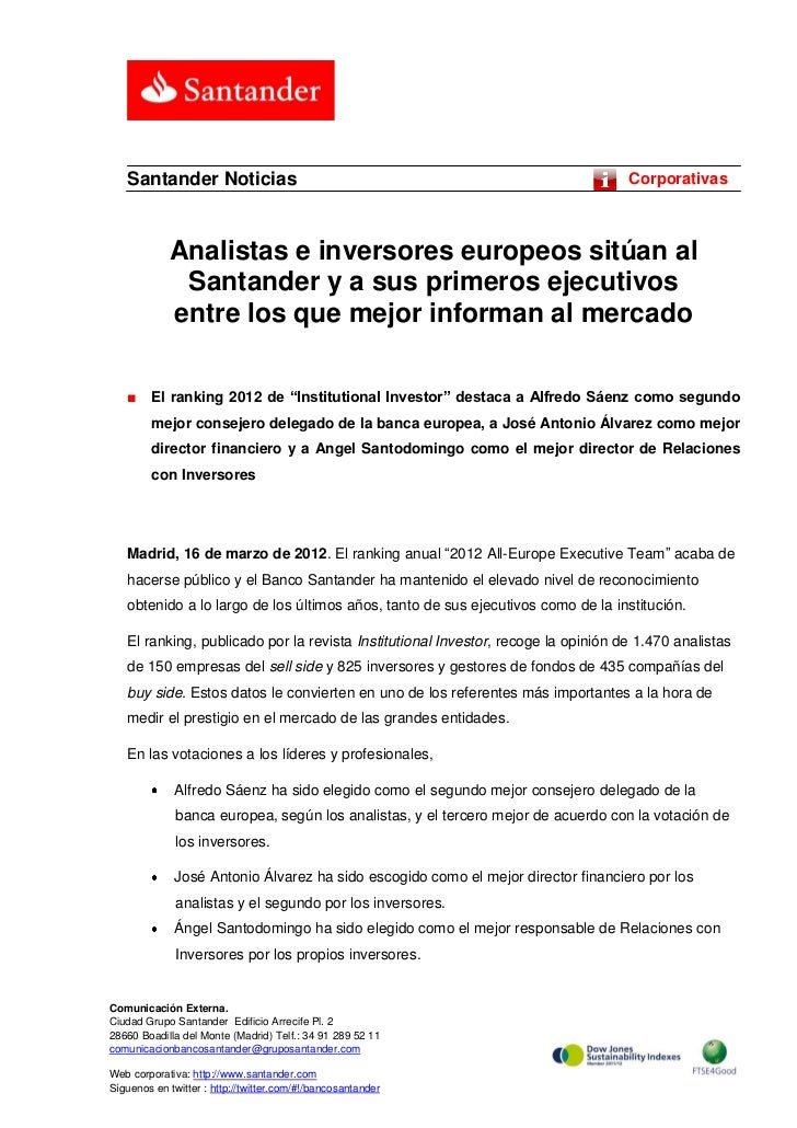 Santander Noticias                                                              Corporativas            Analistas e invers...