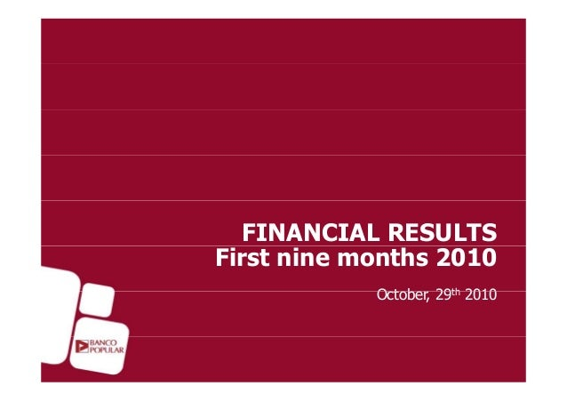FINANCIAL RESULTS First nine months 2010 Octobe 29th 2010October, 29th 2010