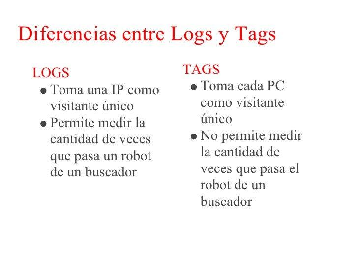 Diferencias entre Logs y Tags  LOGS                   TAGS    Permite medir          Sólo permite medir    cuando se      ...
