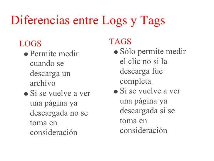Diferencias entre Logs y Tags  LOGS                  TAGS    Se necesita un        Las herramientas    software para      ...