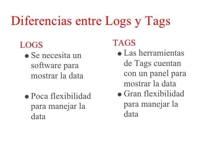 Diferencias entre Logs y Tags  LOGS                   TAGS    Dependiendo del        Se puede procesar    volumen de data ...