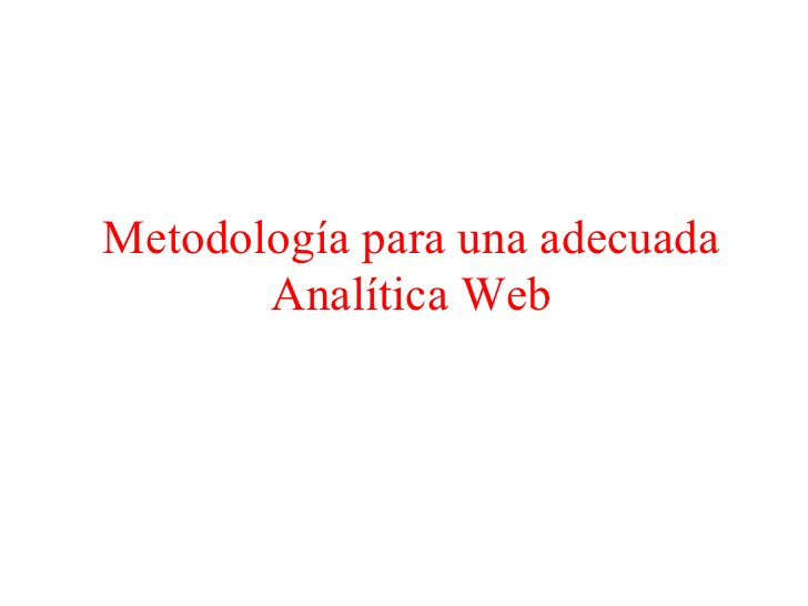 Metodología    Establece el tipo de Site.    Establece objetivos.    Establece período de medición.    Selecciona el mejor...