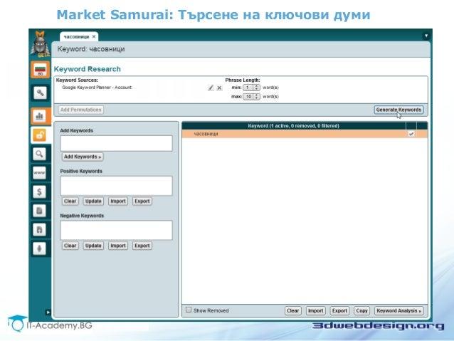 Market Samurai: Търсене на ключови думи