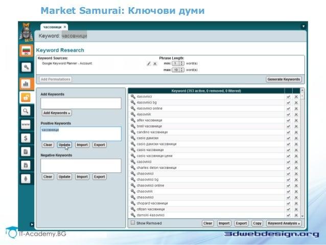 Market Samurai: Ключови думи