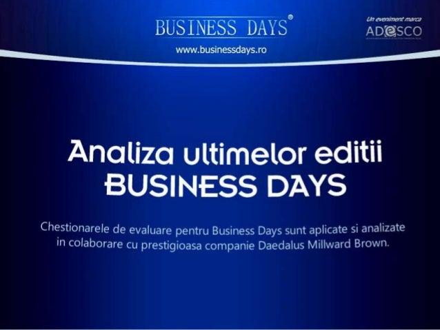 Analiza comparativa a ultimelor 5 editii business days