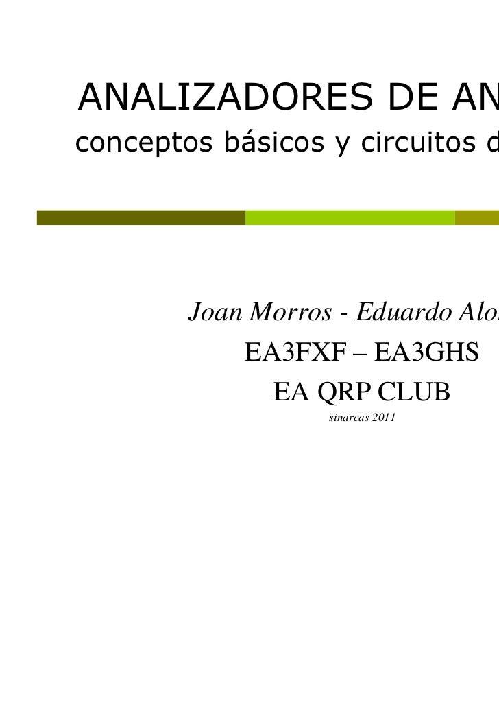 ANALIZADORES DE ANTENASconceptos básicos y circuitos de medida        Joan Morros - Eduardo Alonso            EA3FXF – EA3...
