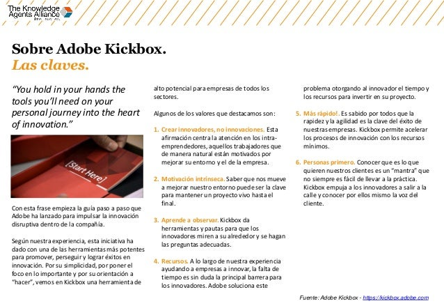 """Sobre Adobe Kickbox. Las claves. """"You hold in your hands the tools you'll need on your personal journey into the heart of ..."""