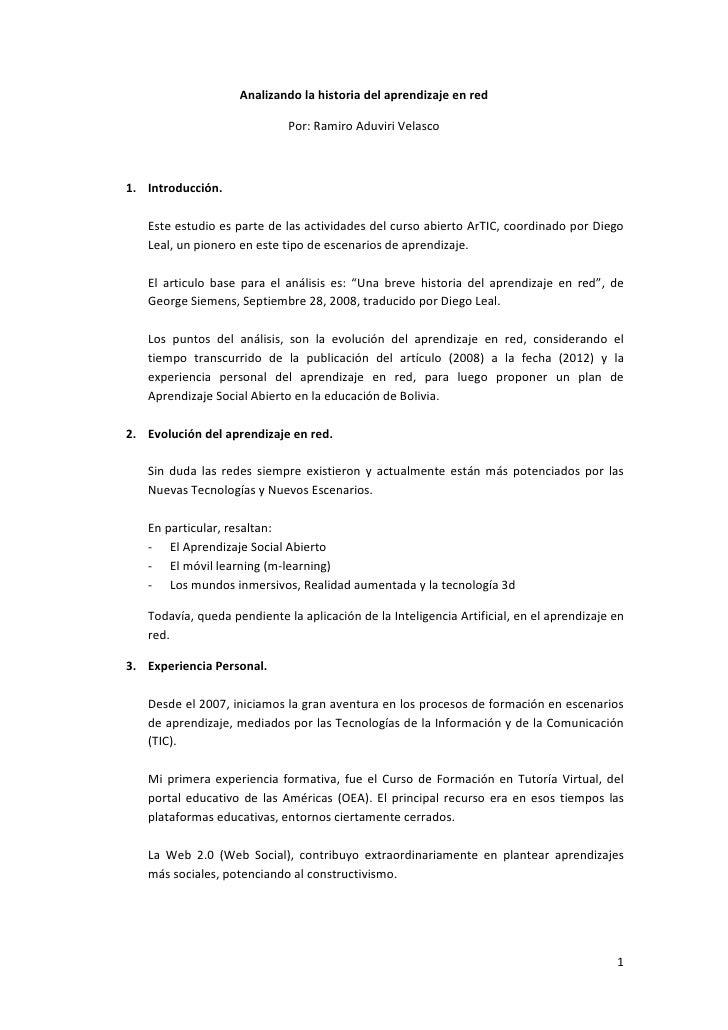 Analizando la historia del aprendizaje en red                             Por: Ramiro Aduviri Velasco1. Introducción.   Es...