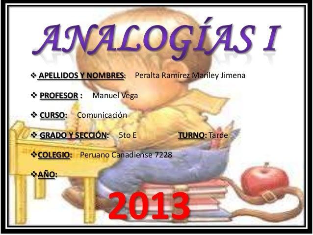  APELLIDOS Y NOMBRES: Peralta Ramírez Mariley Jimena PROFESOR : Manuel Vega CURSO: Comunicación GRADO Y SECCIÓN: 5to E...