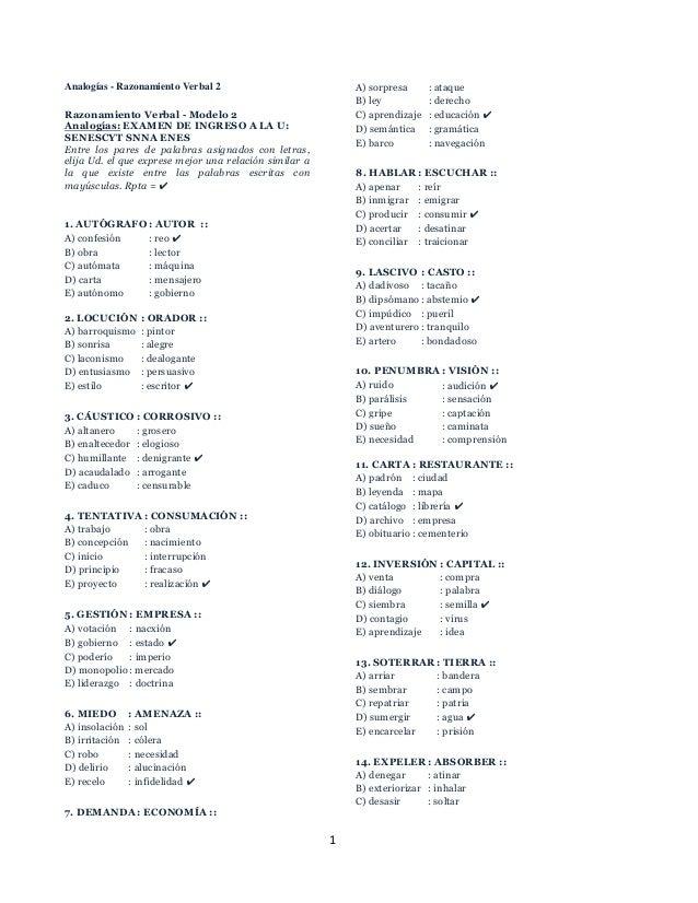 1 Analogías - Razonamiento Verbal 2 Razonamiento Verbal - Modelo 2 Analogías: EXAMEN DE INGRESO A LA U: SENESCYT SNNA ENES...