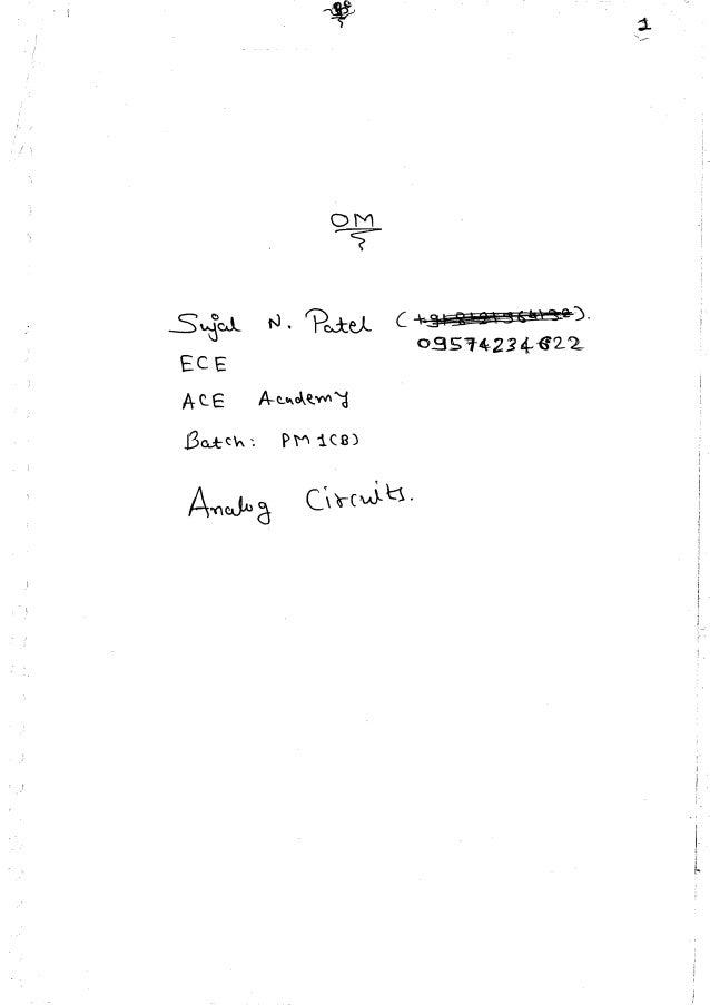 Analog ckts part i made easy hand written notes Gate ECE