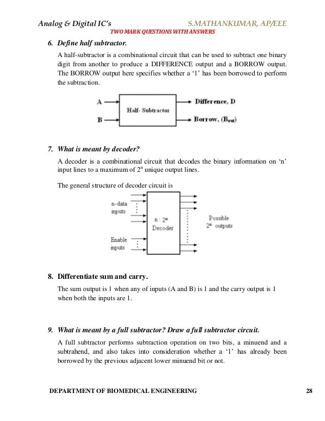 analog \u0026 digital integrated circuits material (short answers)