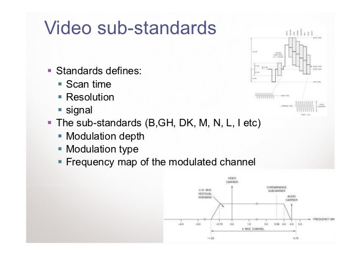 Video sub-standards Standards defines:   Scan time   Resolution   signal The sub-standards (B,GH, DK, M, N, L, I etc)   Mo...