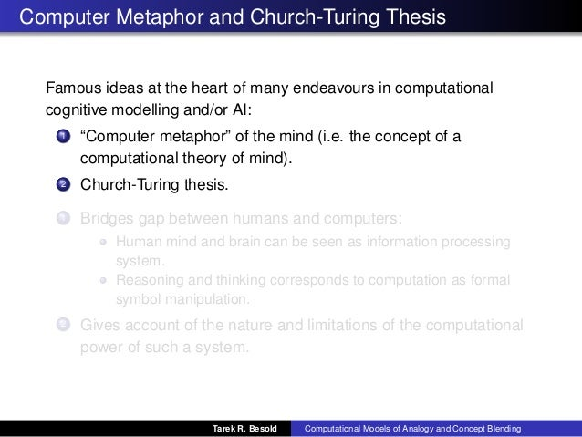 the church-turing thesis The church-turing thesis is that these two notions coincide, that is, anything that should be computable is in fact computable by a turing machine (it's pretty clear that anything that is computable by a turing machine is computable in the more informal sense.
