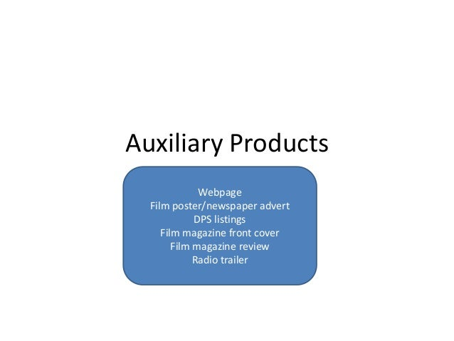 Auxiliary Products              Webpage  Film poster/newspaper advert             DPS listings     Film magazine front cov...