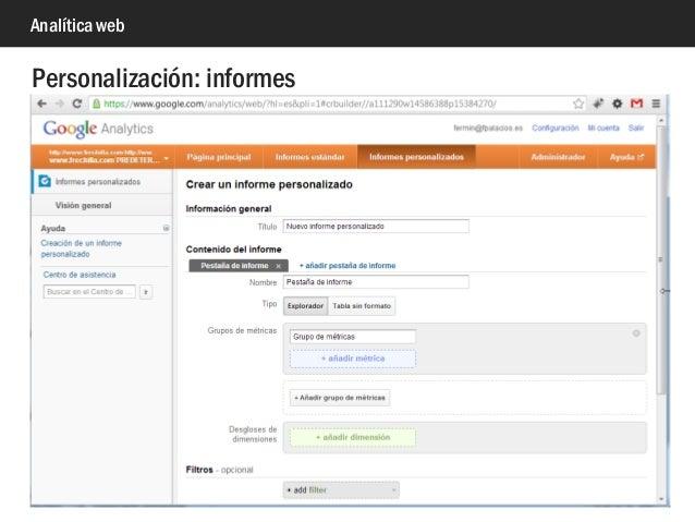 Analítica web Personalización: informes