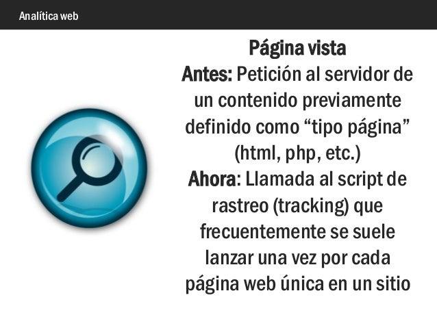 """Analítica web Página vista Antes: Petición al servidor de un contenido previamente definido como """"tipo página"""" (html, php,..."""