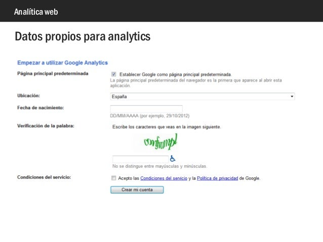 Analítica web Datos propios para analytics