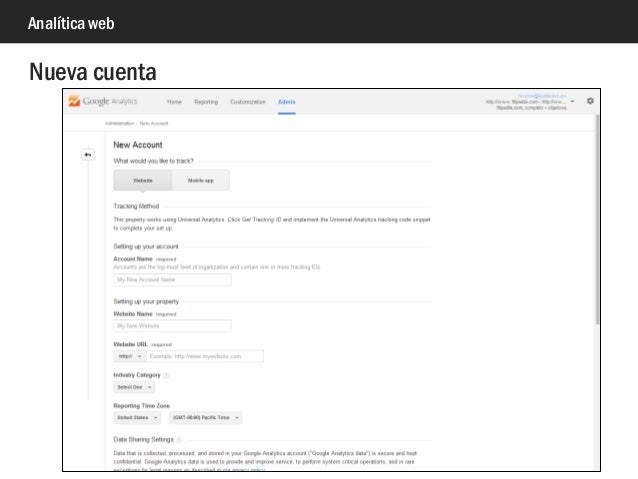 Analítica web Nueva cuenta