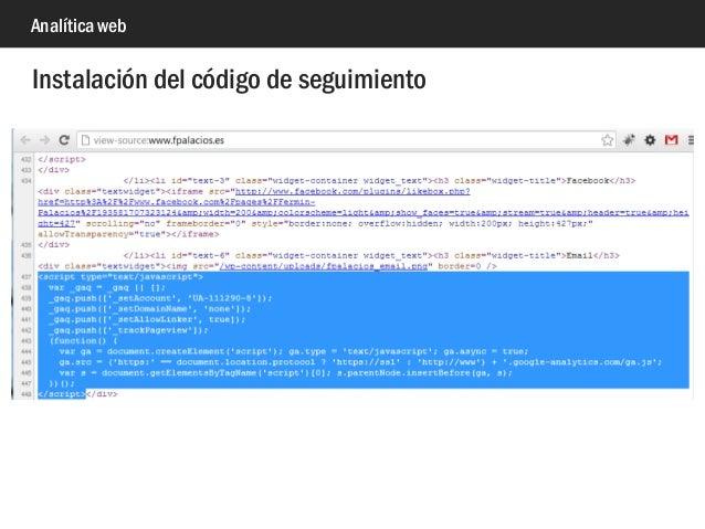 Analítica web Instalación del código de seguimiento