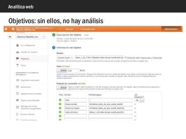 Analítica web Objetivos: sin ellos, no hay análisis