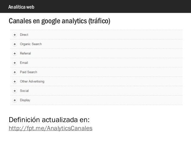 Analítica web Canales en google analytics (tráfico) Definición actualizada en: http://fpt.me/AnalyticsCanales