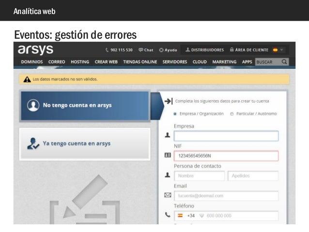 Analítica web Eventos: gestión de errores