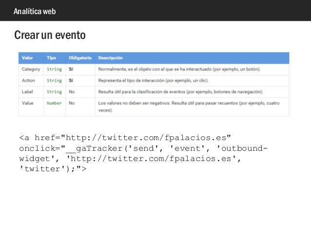 """Analítica web Crear un evento <a href=""""http://twitter.com/fpalacios.es"""" onclick=""""__gaTracker('send', 'event', 'outbound- w..."""