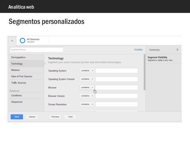 Analítica web Segmentos personalizados