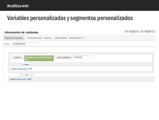 Analítica web Variables personalizadas y segmentos personalizados