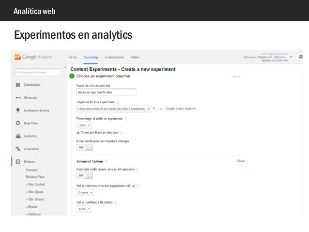 Analítica web Experimentos en analytics