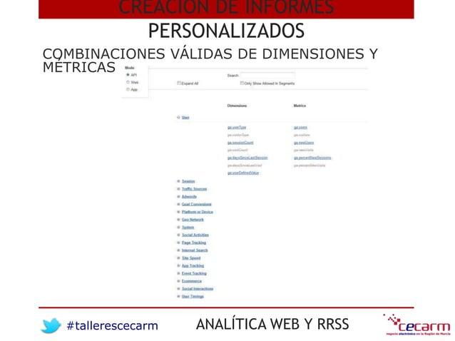 #tallerescecarm ANALÍTICA WEB Y RRSS COMBINACIONES VÁLIDAS DE DIMENSIONES Y MÉTRICAS CREACIÓN DE INFORMES PERSONALIZADOS