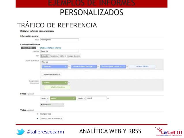 #tallerescecarm ANALÍTICA WEB Y RRSS TRÁFICO DE REFERENCIA EJEMPLOS DE INFORMES PERSONALIZADOS