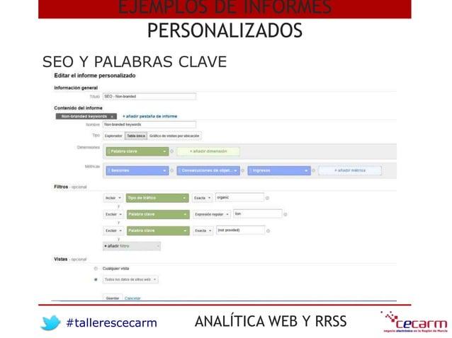 #tallerescecarm ANALÍTICA WEB Y RRSS SEO Y PALABRAS CLAVE EJEMPLOS DE INFORMES PERSONALIZADOS