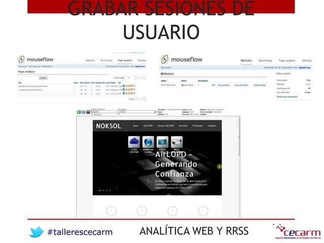 #tallerescecarm ANALÍTICA WEB Y RRSS GRABAR SESIONES DE USUARIO