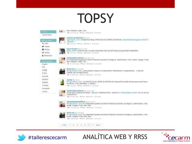 #tallerescecarm ANALÍTICA WEB Y RRSS TOPSY