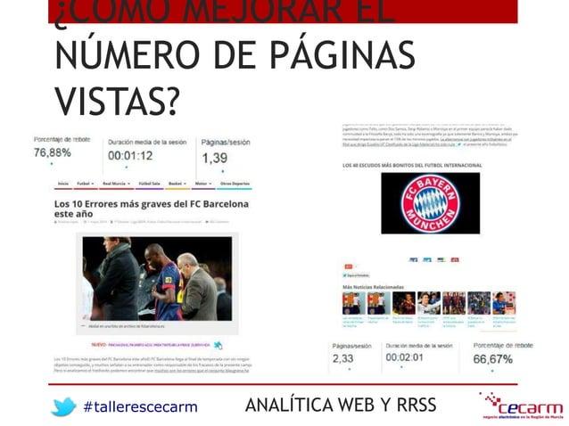 #tallerescecarm ANALÍTICA WEB Y RRSS ¿CÓMO MEJORAR EL NÚMERO DE PÁGINAS VISTAS?