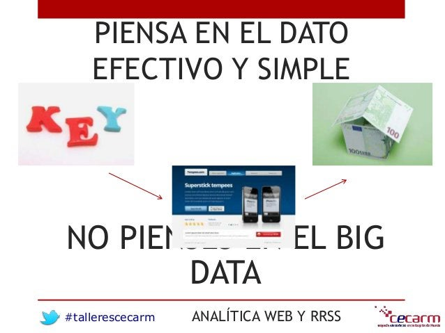 #tallerescecarm ANALÍTICA WEB Y RRSS PIENSA EN EL DATO EFECTIVO Y SIMPLE NO PIENSES EN EL BIG DATA