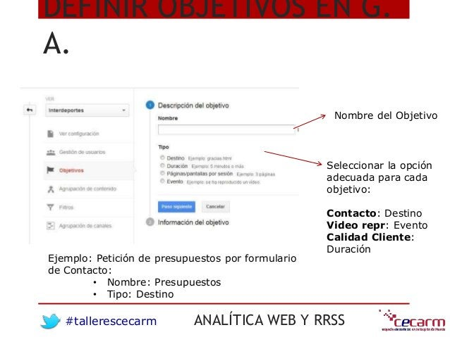 #tallerescecarm ANALÍTICA WEB Y RRSS DEFINIR OBJETIVOS EN G. A. Nombre del Objetivo Seleccionar la opción adecuada para ca...