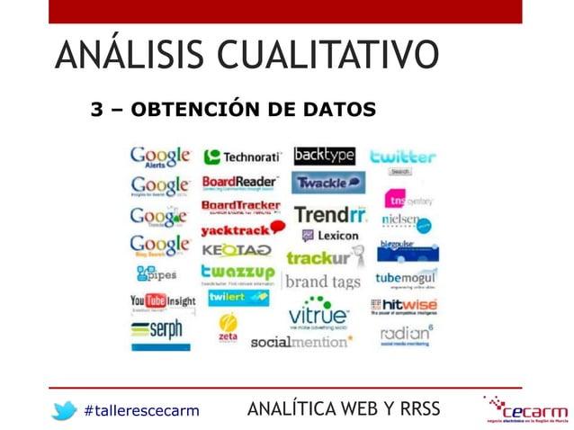 #tallerescecarm ANALÍTICA WEB Y RRSS ANÁLISIS CUALITATIVO 3 – OBTENCIÓN DE DATOS