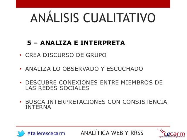 #tallerescecarm ANALÍTICA WEB Y RRSS ANÁLISIS CUALITATIVO 5 – ANALIZA E INTERPRETA • CREA DISCURSO DE GRUPO • ANALIZA LO O...