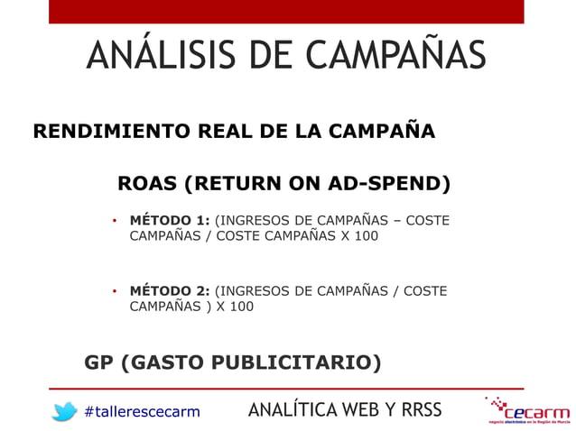 #tallerescecarm ANALÍTICA WEB Y RRSS ANÁLISIS DE CAMPAÑAS RENDIMIENTO REAL DE LA CAMPAÑA • MÉTODO 1: (INGRESOS DE CAMPAÑAS...