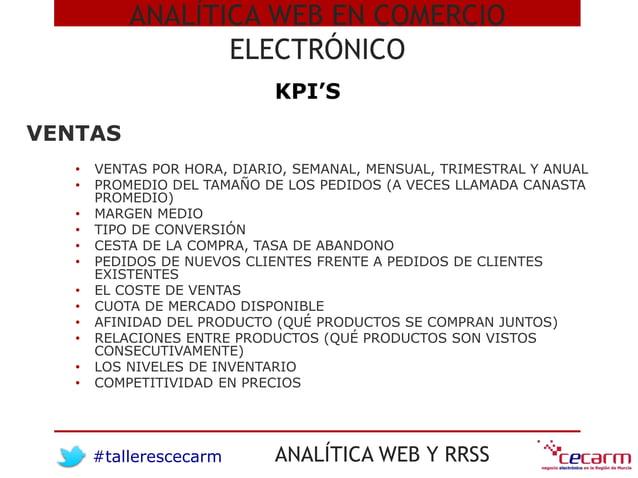 #tallerescecarm ANALÍTICA WEB Y RRSS ANALÍTICA WEB EN COMERCIO ELECTRÓNICO KPI'S • VENTAS POR HORA, DIARIO, SEMANAL, MENSU...