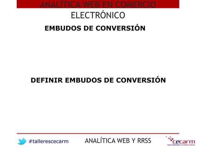 #tallerescecarm ANALÍTICA WEB Y RRSS ANALÍTICA WEB EN COMERCIO ELECTRÓNICO EMBUDOS DE CONVERSIÓN DEFINIR EMBUDOS DE CONVER...