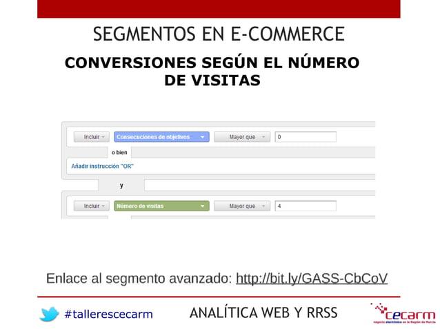 #tallerescecarm ANALÍTICA WEB Y RRSS SEGMENTOS EN E-COMMERCE CONVERSIONES SEGÚN EL NÚMERO DE VISITAS